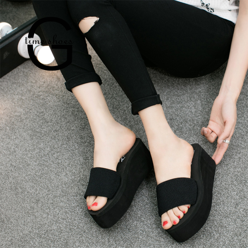 Dropshipping Summer Slippers Woman Wedge Platform Beach Flip Flops Slipper For Women Black EVA Lady Shoes Zapatos Mujer SE096