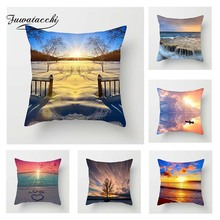 Fuwatacchi Scenic Style Cushion Cover Lake Sunrise Highway Snow Printed Pillow Decorative Pillows For Sofa Car Bedroom