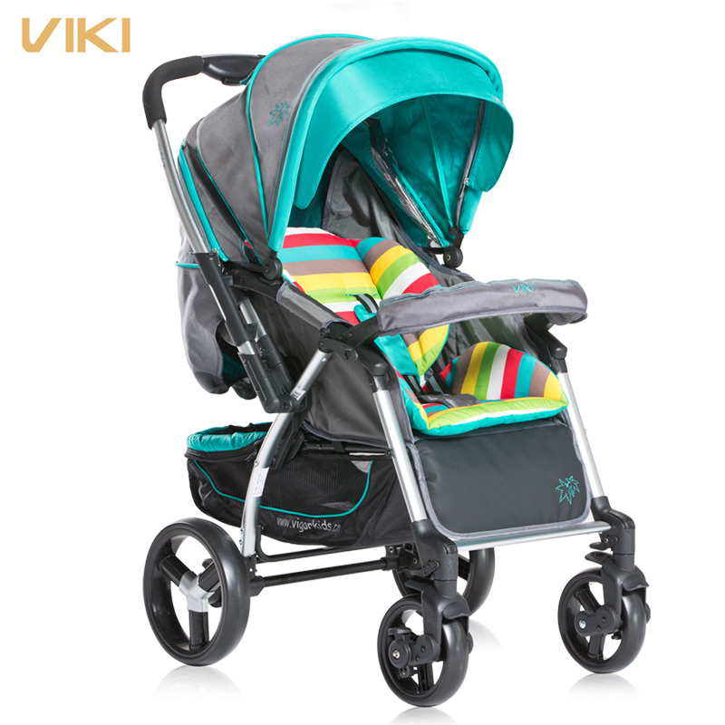 Fashion Folding Baby Stroller, 4 Wheels Pushchair/Trolley, Baby Umbrella Cart, Bidirectional , Can sit & Lie , Suspension