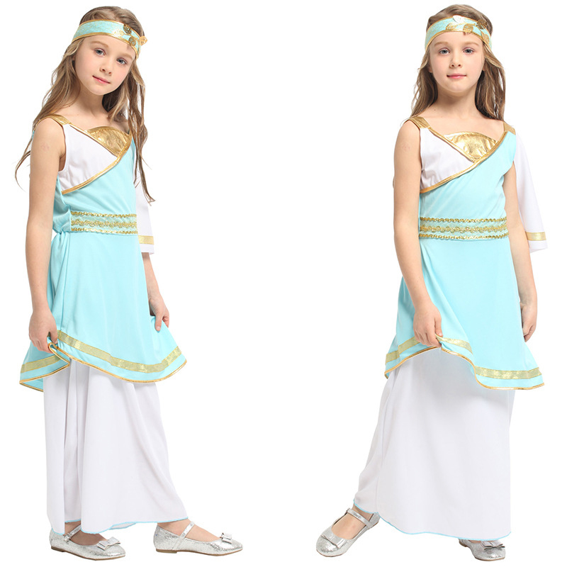 Quality Children's Girls Masquerade Costumes Arab Princess Dress Roman Princess Ancient Egyptian Renaissance Cleopatra Celebrity