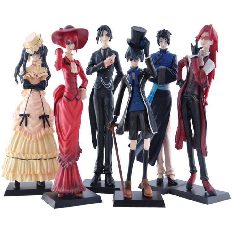 Classic Anime 6Pcs/set Black Butler Kuroshitsuji figures toys 12cm Ciel Phantomhive Action figure Collection PVC Model