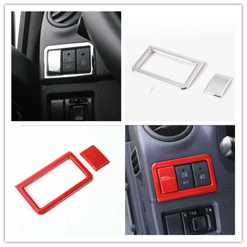 ABS Chromed Front Rear Fog Light Switch Decoration Parking Lamp Button Ring Frame Cover Sticker Trim Decoration For SUZUKI Jimny