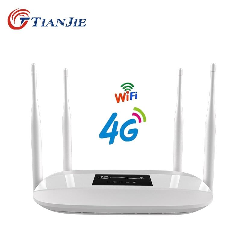 TIANJIE débloqué 300 Mbps 4 antennes externes maison Wifi routeur 3G 4G GSM LTE routeur hotspot 4G modem 4g routeur avec fente pour carte sim