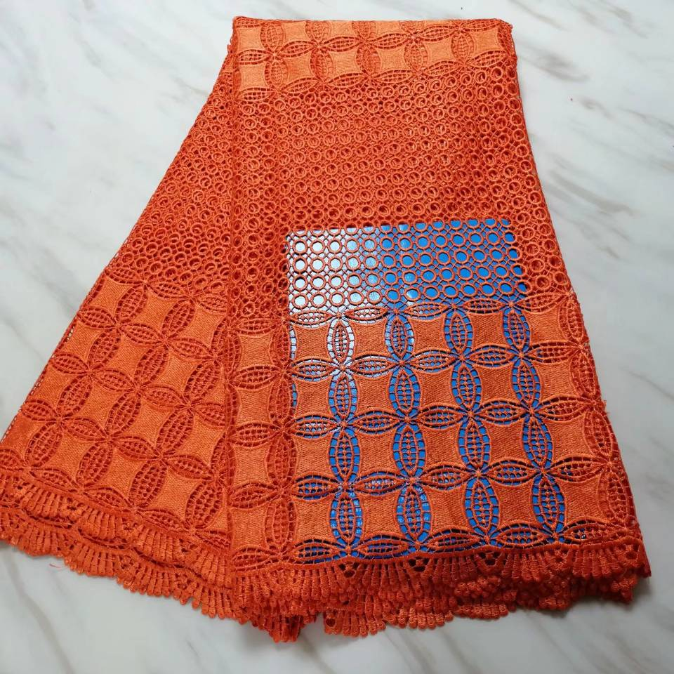 Entertainment Memorabilia Contemplative 5yards/pc Hot Sale Orange African Water Soluble Lace Embroidery French Guipure Lace Fabric For Dress Bw26-4 Pretty And Colorful