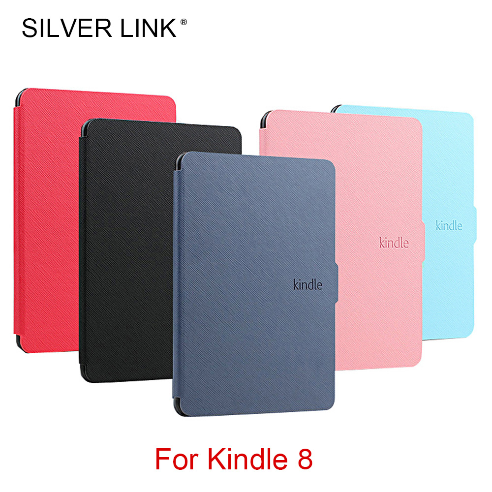 SILVER LINK Kindle 8 E-reader Case PU Faux Leather Cover For Kindle 8th Generation Ebook Skin Multicolor Hard Shell Auto Sleep/W lichee pattern protective pu leather case stand w auto sleep cover for google nexus 7 ii white