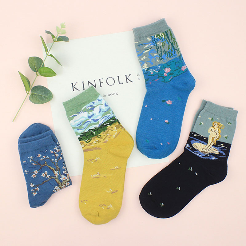 4 Pairs Women Funny Art Patterned Short Breathable   Socks   Landscape Patterned Low Ankle Colorful Japan Style Lazy Harajuku   Sock