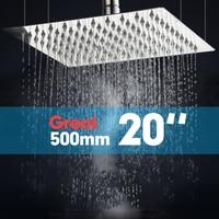 OUBONI 20 Bathroom Shower Head Wall Mounted Chrome Brass Square Rain Shower Head 20 inch Shower Sprayer