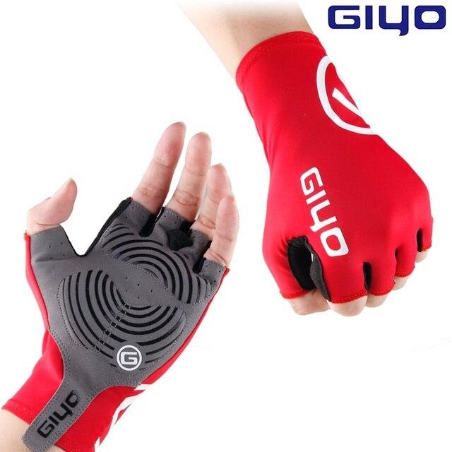 Giyo Quebra Vento Ciclismo Metade do Dedo Luvas de Bicicleta Anti-slip Tecido Lycra Luvas MTB Luvas de Corrida De Bicicleta de Estrada Luva
