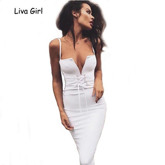 9db85f2057 Women 2017 Summer Bandage Bodycon Midi Dress Deep V Neck Spaghetti Backless Lace  Up Dress Sexy