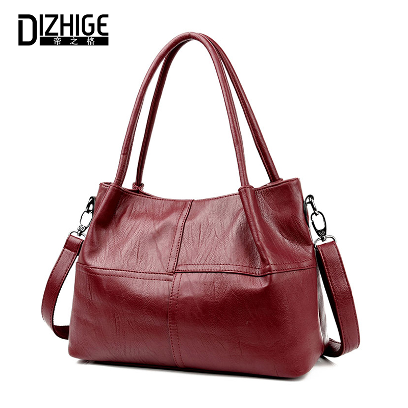 Women Shoulder Bag High Quality PU Leather Bags Ladies Handbag Solid Big Shopping Handbag Female Large Capacity Casual Tote Bag women canvas patchwork handbag high quality brand luxury ladies tote bags big casual shopping female shoulder bag bolsos mujer