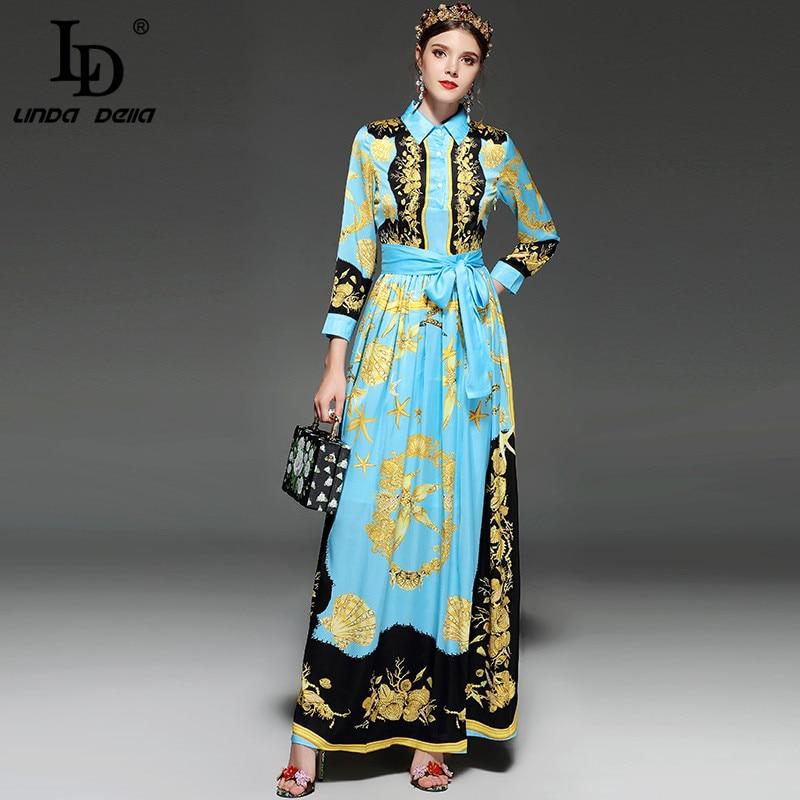 LD LINDA de DELLA Nouveau Designer Piste Maxi robe pour femmes à manches longues Élégant Ceinture conque coquillage Impression Vintage conduites de carburant