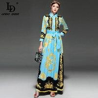 LD LINDA DELLA New 2018 Designer Runway Maxi Dress Women S Long Sleeve Elegant Belt Conch