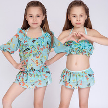 Children's Swimsuit Girls Bikini Swimwear 2017 3pcs/set Bikinis Kids Children Baby Girl Bathing Suit Swimming Dress