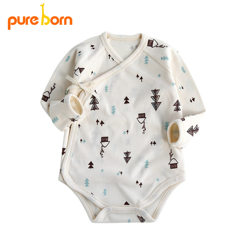 Pureborn Toddler Clothing Baby Bodysuit Brand New 2018 Våren Cartoon Forest Baby Boy Girl Clothes Bomull Nyfödd One Piece