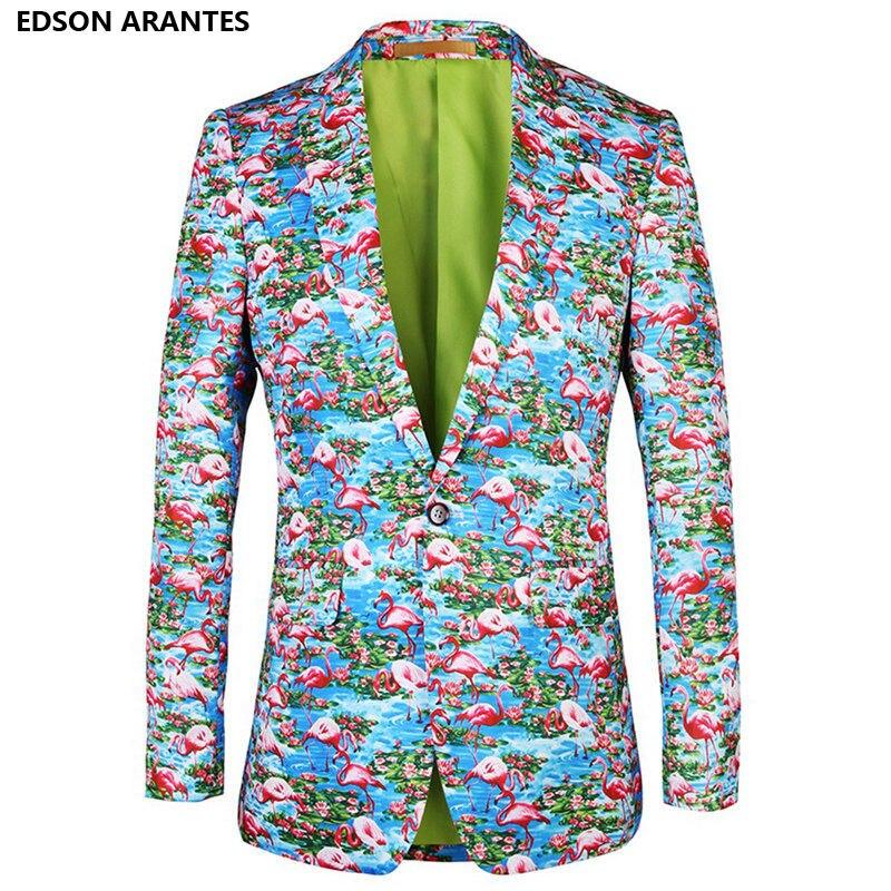 Mens Floral Blazer Novelty 3d Flamingo Luxury Print Casual Suit Jacket Fashion Plus Size 3xl 4xl Costume Party Blazers Hombre Blazers