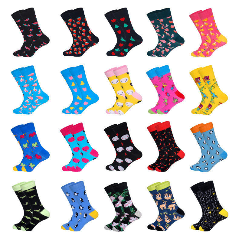 LIONZONE Brand Designer Happy Socks Gifts For Men Fruits Smiling Face Crazy Animals Patterns Coloured Unisex Crew Socks
