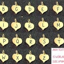 8x8 мм из нержавеющей стали начальный Шарм персонализированные подвески, начальные сердца алфавит подарки для нее 2 компл./лот