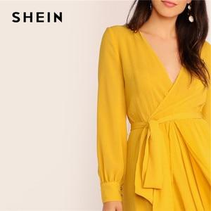 Image 5 - SHEIN Mustard Self Belted Wrap Maxi Dress Women Glamorous High Waist V Neck Party Dress Ladies Spring Bishop Sleeve Long Dresses