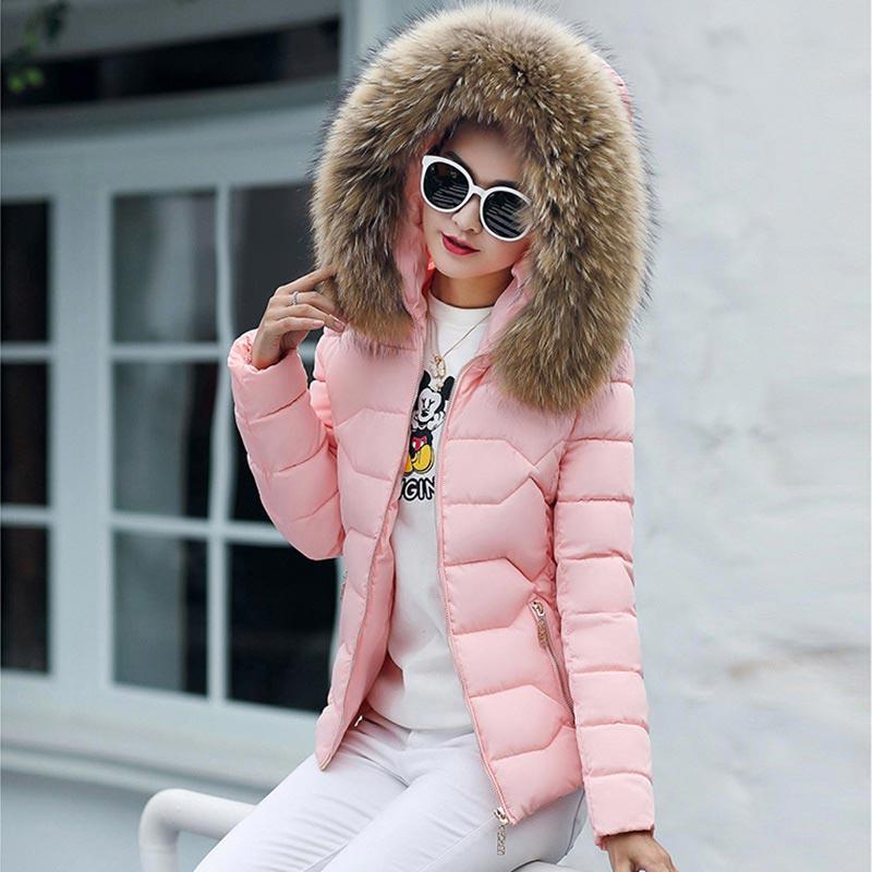 Winter coat women 2018 tops new hot fur collar hooded winter jackets women warm down cotton outerwear female   parkas   women coats