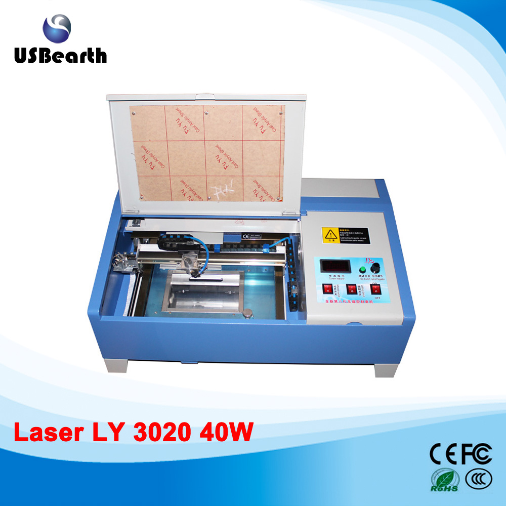 LY CO2 Laser 3020 Engraving Machine with digital function and honeycomb stamp laser machine 3020 with lift system up and down function 40w heigh configration