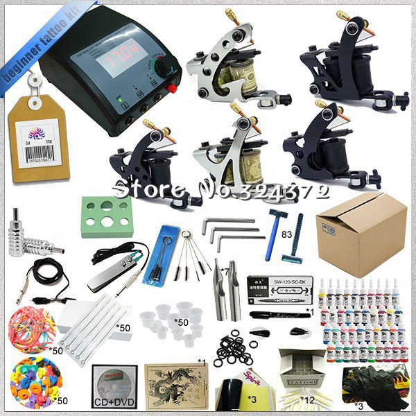 ФОТО Complete Tattoo kits 5pcs Tattoo  machine 1/6oz black tattoo ink sets power supply disposable needle