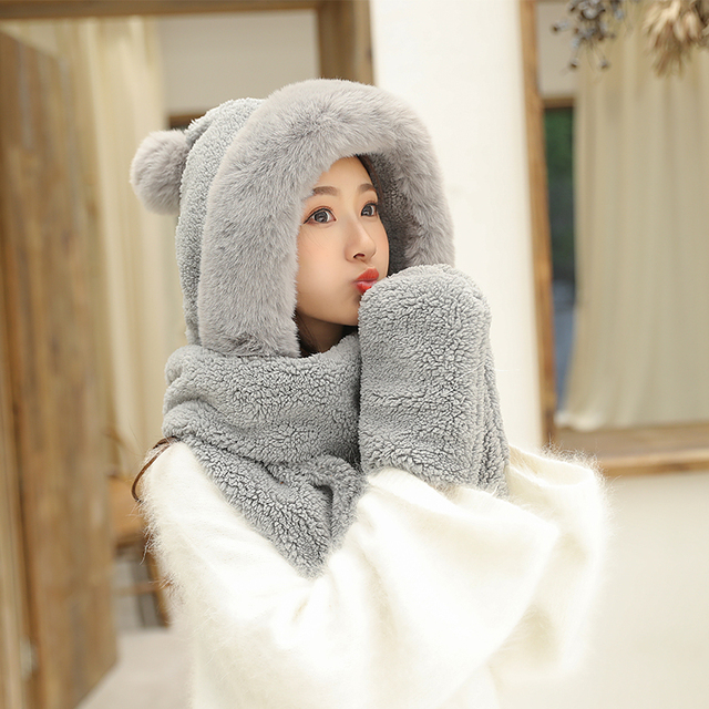 ZDFURS*Autumn and winter hat female plush thick double layer northeast hat warm cycling neck scarf scarf gloves one gift