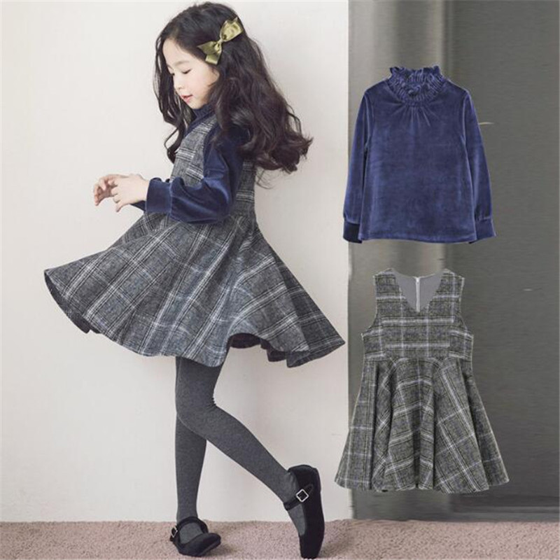 2018 Autumn Winter Teenage Girls Clothing Set Fashion Velvet Long Sleeve Shirt Top+Plaid Vest Dress New 2pc Princess Outfits pocket patched plaid curved hem shirt dress