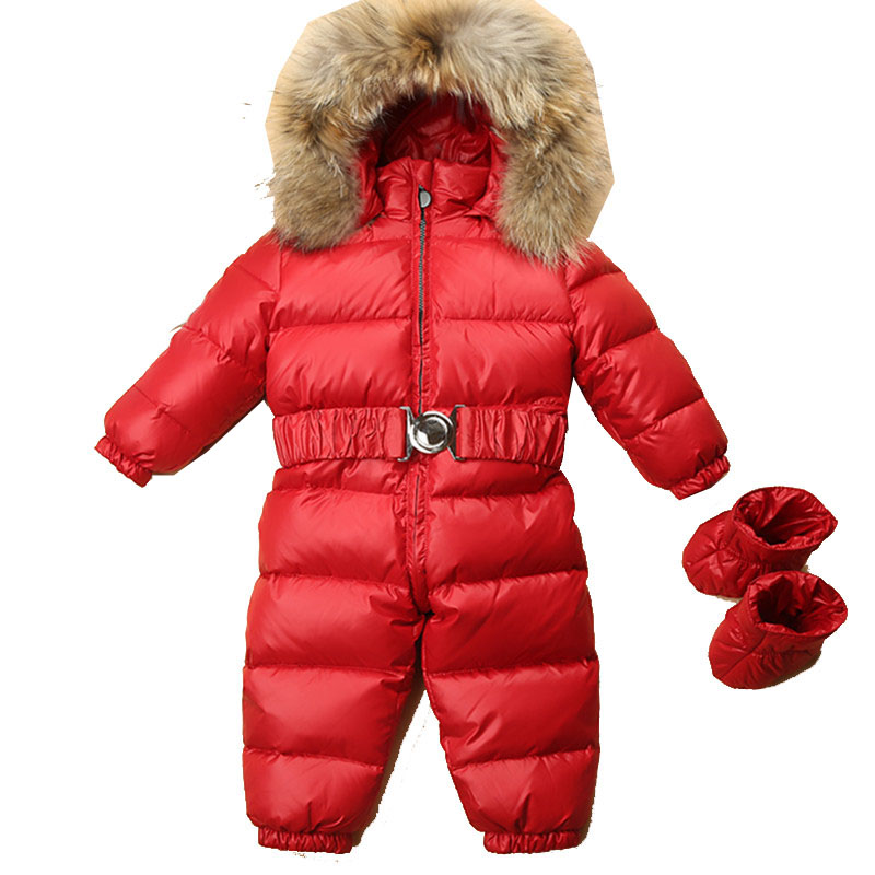 a8307658e36 Best buy 2018 New 1 4 Years Toddler Baby Rompers Winter Natural Girls Boys  Raccoon Fur Feather Down Overalls 30 Degree Russian Clothes online cheap