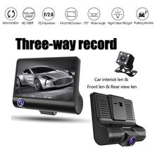 4 Inch 1080P 3 Lens Car DVR Dash Cam Vehicle Video Recorder Rearview Camera Motion Detection G-sendor 140 Degree Wide Angle