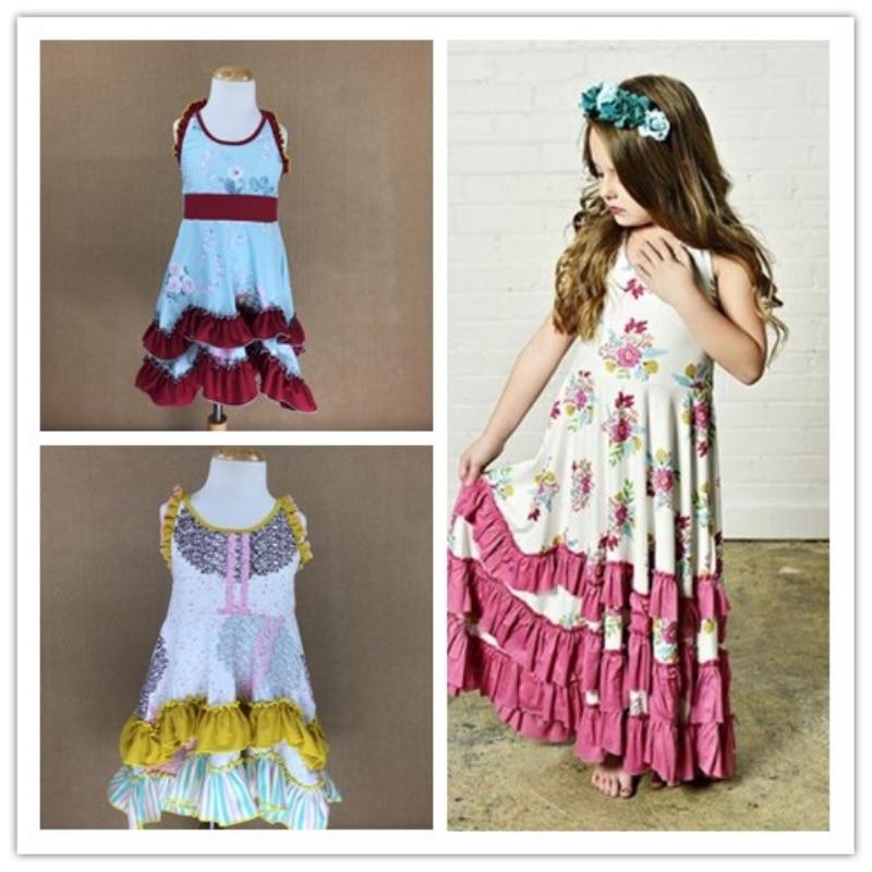 New 100% cotton woven fabric cot girl frock design Summer Children Sleeveless Girls Floral Dresses Kids Princess Backles