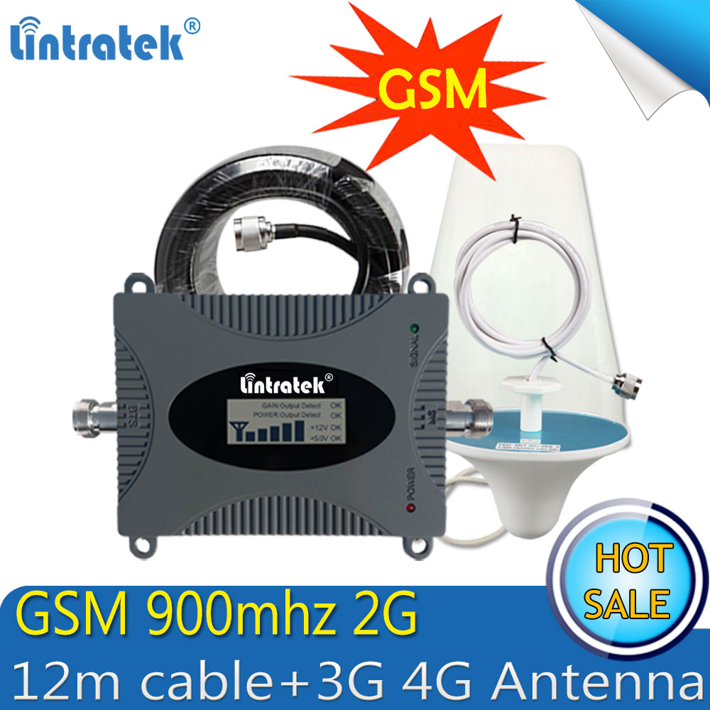 Lintratek GSM 900Mhz 2G Mobile Phone Cellular Signal Booster GSM 900 Signal Repeater  Amplifier 2G 3G 4G Antennas