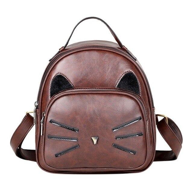c9805389673b7 MOJOYCE Katze Druck Rucksack PU Leder Mini Rucksäcke Frauen Schule Taschen  für Teenager Mädchen Taschen Kinder