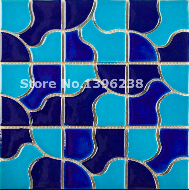 Hot Glazed Blue ceramic mosaic wall tiles,Kitchen/TV/Bath shower/background wall floor decor mosaic wall tile sticker,LSQHC10 sea shell mosaic tiles seamless join natural pure white color kitchen wall mosaics tile hot sale free shipping