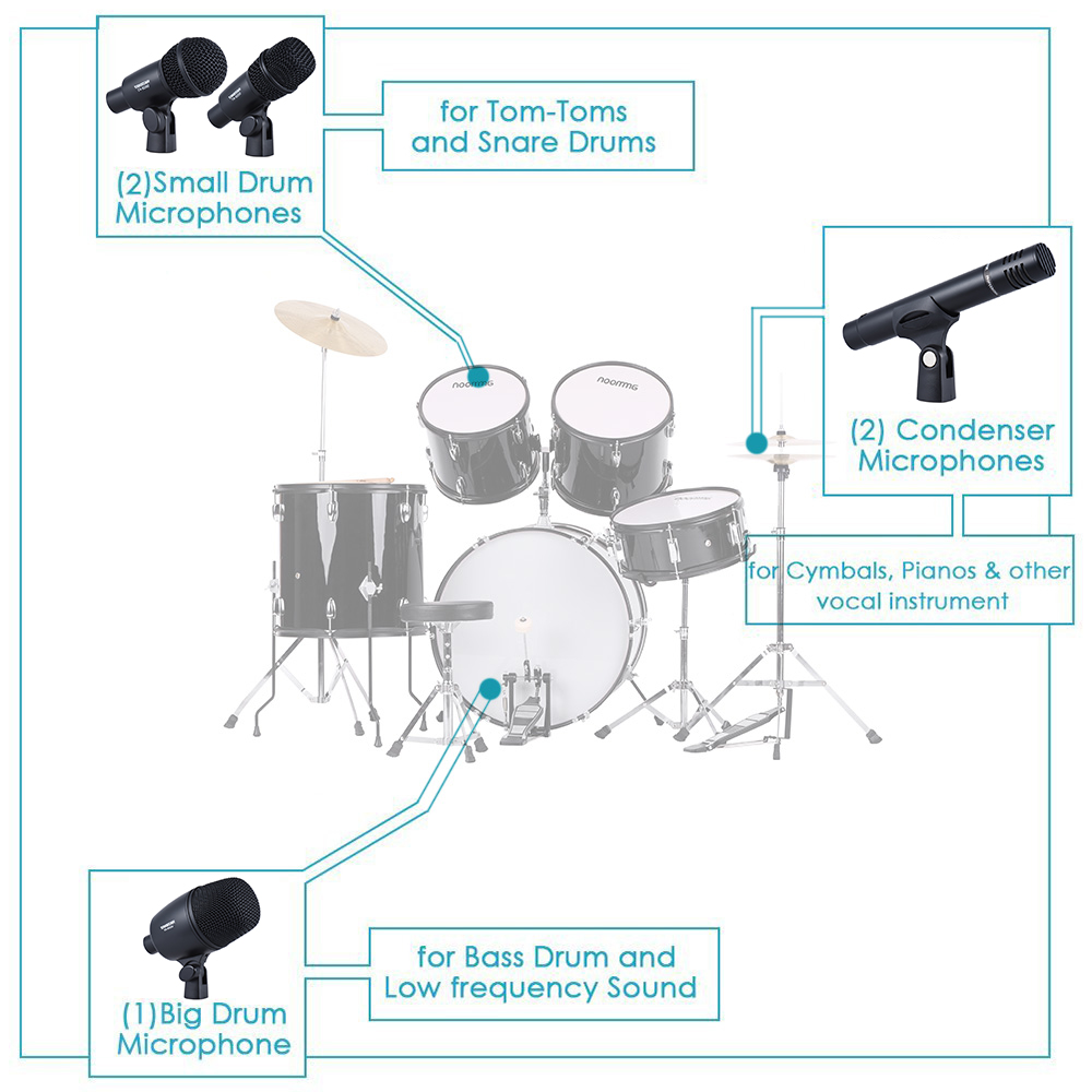 dms 7as professional wired microphone mic kit for drum set musical instruments w standard mounting thread carrying case in microphones from consumer  [ 1000 x 1000 Pixel ]