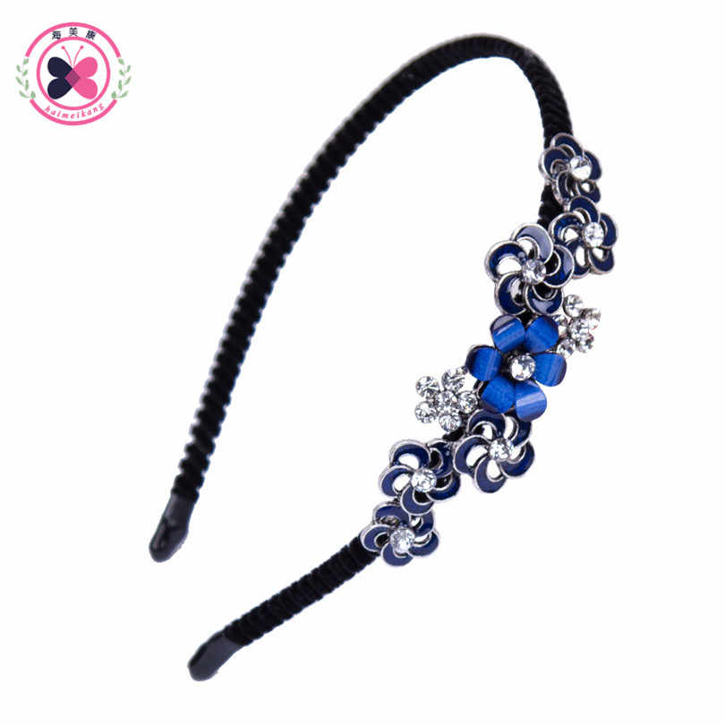 ... Haimeikang 2019 Colorful Rhinestone Flower Leaf Hair Hoop Headband  Hairband for Women Girls Bezel Hair Band ... e02ee86a393a