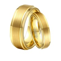 1 Pair 8mm & 6mm Couple Lover's Gold Color Tungsten Carbide Wedding Promised Ring Set for Boy & Girl Anniversary Gift