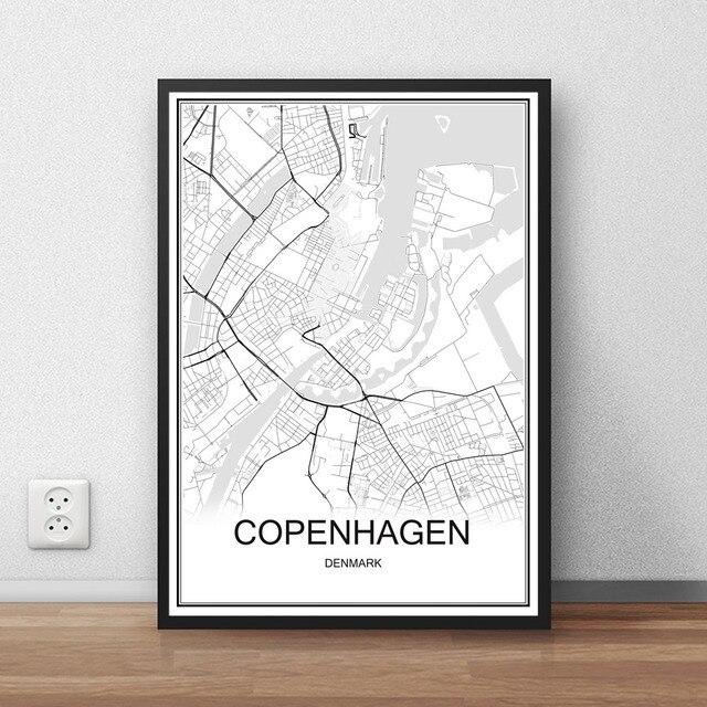 World city map copenhagen denmark print poster abstract coated paper bar cafe pub living room home
