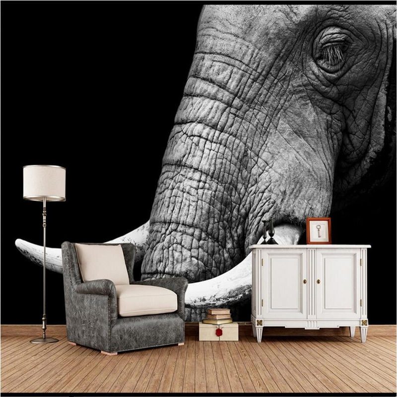Wallpapers YOUMAN Custom Wallpaper Murals Black and White Elephant Minimnalist Photo 3d Wallpaper Embossed Wall Covering Mural high quality 3d flooring custom photo wall mural pebbles carp 3d floor murals wallpapers 3d floor tiles nature wallpapers