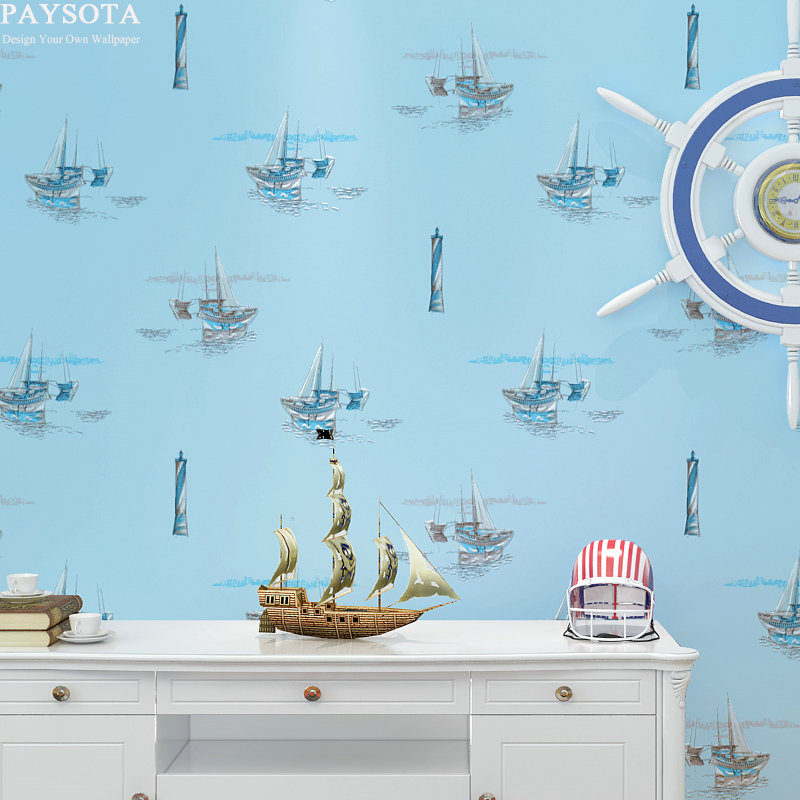 New Papel Pintado Papel De Parede Paysota Style Cartoon Sailing Boat Children Room Bedroom Non-woven Wall Paper beibehang children cute wallpaper cartoon motorcycle stripes boy children room wall paper non woven bedroom papel de parede