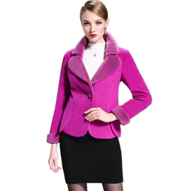New Arrival Short Single Button Women's Woolen Coat Winter 2017 New Fashion Thick Warm Sherpa Collar Winter's Women Jackets F804