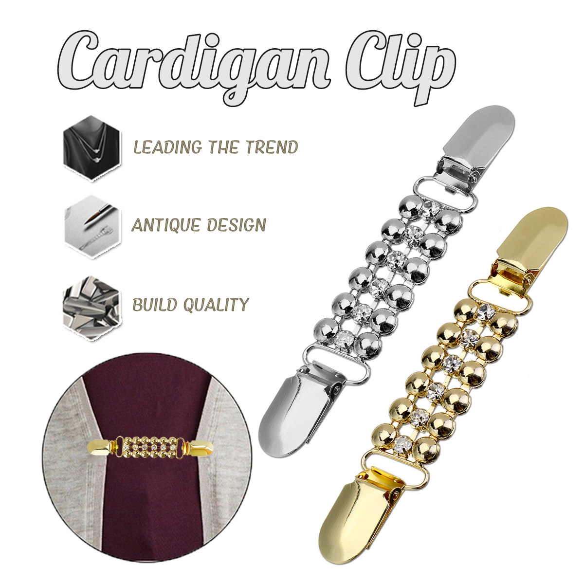 Conscientious Kiwarm Retro Sweater Cardigan Clip Buckles Shawl Blouse Dress Collar Pin Brooch Duck-mouth Metal Clips Silver Gold Alloy Attractive And Durable Arts,crafts & Sewing