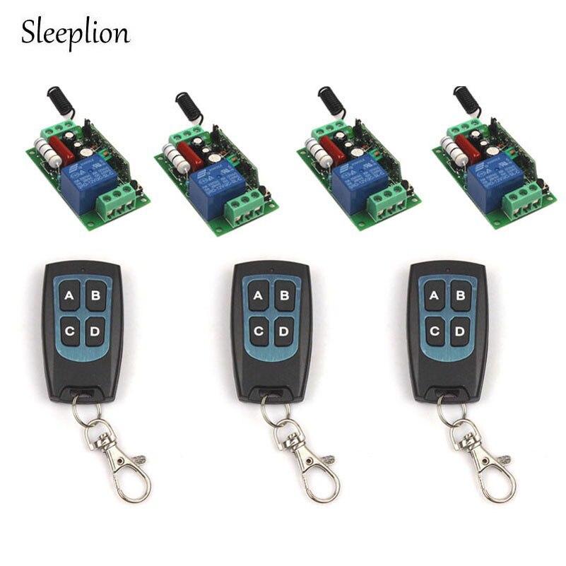 Sleeplion Family Sized AC 220V 10A 1Channel Relay RF Wireless Waterproo Control Switch 3 4 key