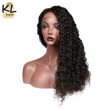 KL волос глубокая волна 360 Синтетический Frontal шнурка волос Искусственные парики 150% плотность Человеческие волосы натуральный Цвет бразильский Волосы Remy для черный Для женщин с ребенком волос