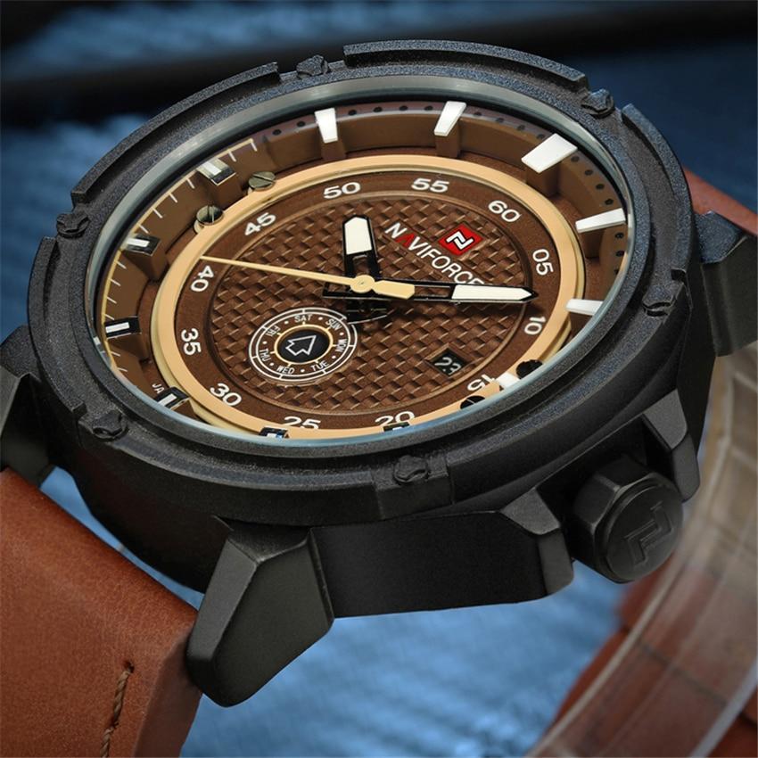Prix pour Naviforce montre homme marque de luxe relogio masculino mode militaire en cuir quartz montre-bracelet de sport horloge avec boîte de montre lx66