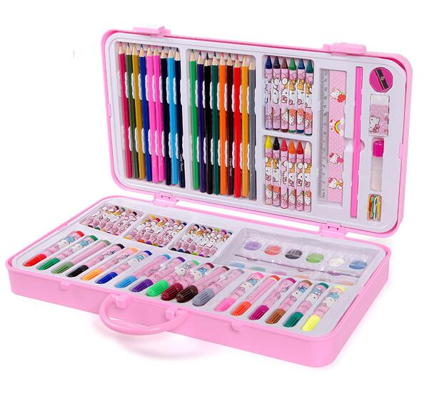 18e3e7841 Hello Kitty Children Boys Girls Cartoon Drawing Art Set,With Palette Color  Pen Crayon Paperclip...-in Art Sets from Office & School Supplies on ...