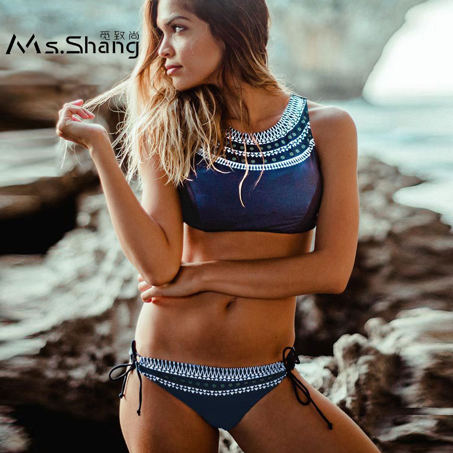 Ms.Shang High Neck Bikini Swimsuit Women 2018 Bandage Bikini Set Sexy Crop Top Swimwear Bathing Suit Push Up Brazilian Bikinis sexy cross brazilian bikini women swimsuit push up swimwear floral cross criss bikini set high neck cropped biquini bathing suit