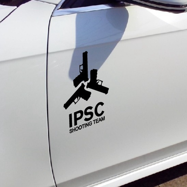Free shipping fashion cool car decals vinyl waterproof ipsc gun decal stickers for the whole