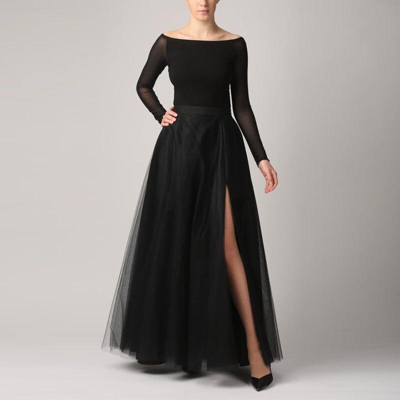 Mode côté fente longue Tulle jupes femmes fermeture éclair taille étage longueur noir Tutu Maxi Jupe Faldas Jupe Saia Longa sur mesure