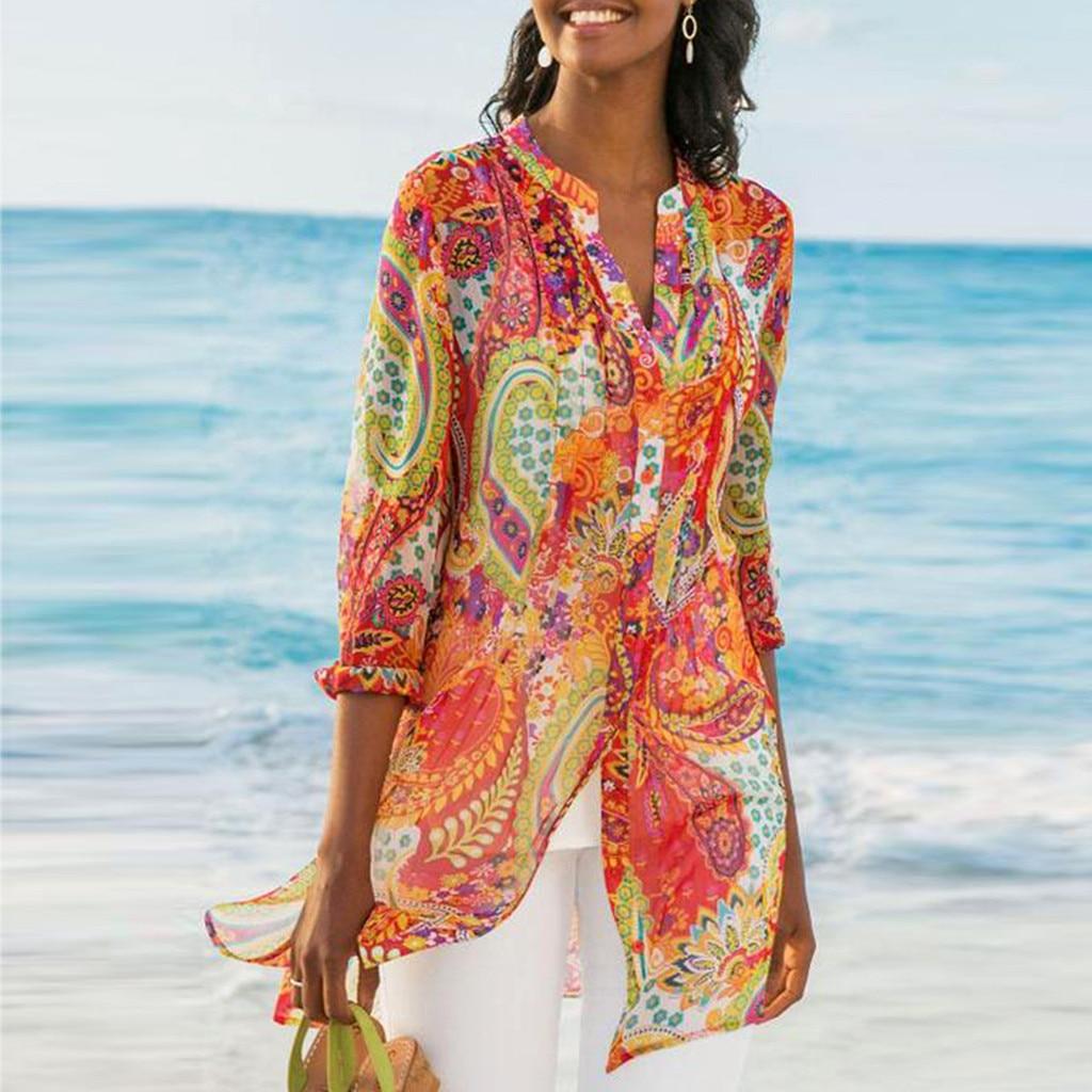 2019 Casual Chiffon Printed Button Retro Beach Dress Women Bohemia Bikini Swimwear Kaftan Beach Cover Up Saida De Praia Pareos