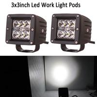 2x 18w 3 LED Work Light Bar Flood Spot Cube Pod Offroad LED Driving Light For